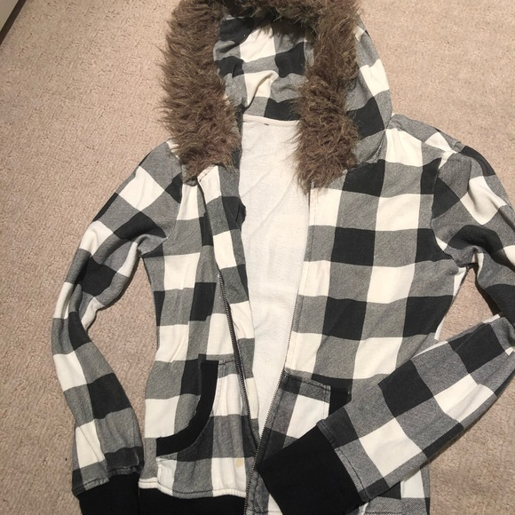 BB Dakota Jackets & Blazers - BB Dakota Jacket w/ Faux Fur Hoodie Plaid